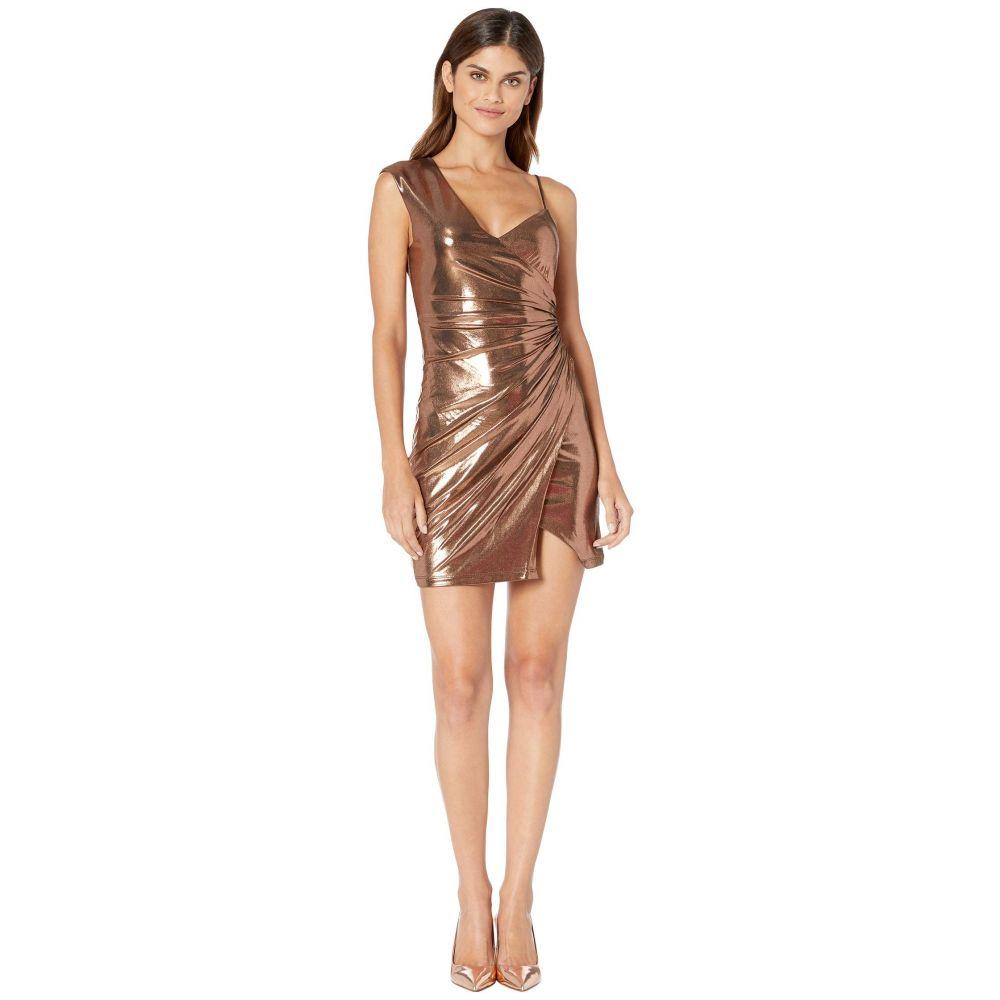 ビーシービージーマックスアズリア BCBGMAXAZRIA レディース ワンピース ワンピース・ドレス【Metallic One Shoulder Shirred Dress】Rose Gold