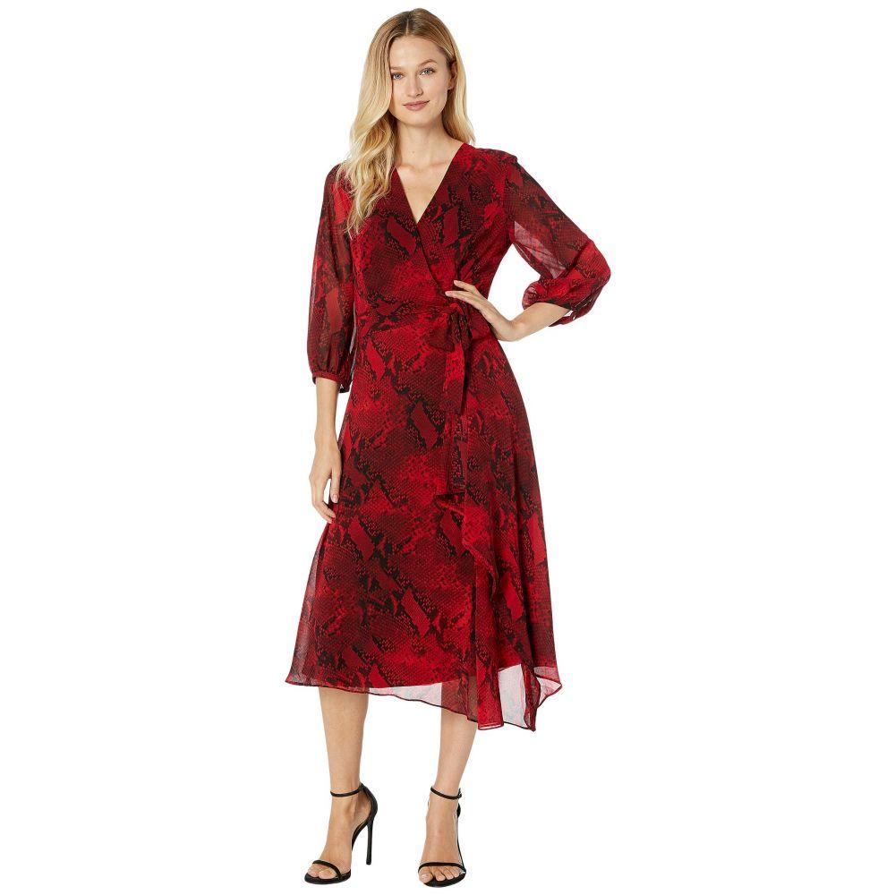 カルバンクライン Calvin Klein レディース ワンピース Vネック ラップドレス ワンピース・ドレス【V-Neck Wrap Dress with Belt】Rouge/Black