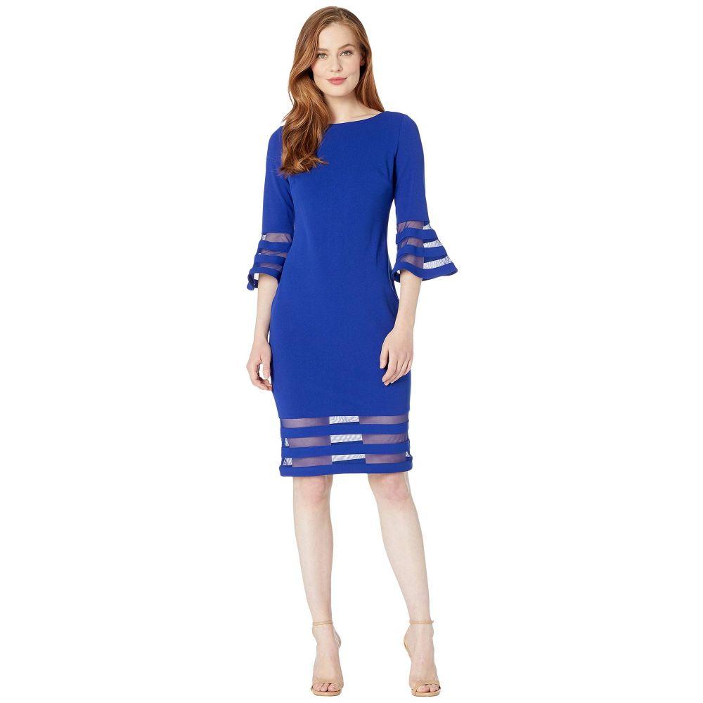 カルバンクライン Calvin Klein レディース ワンピース ワンピース・ドレス【Bell Sleeve Dress with Illusion at Cuff and Hem】Ultramarine
