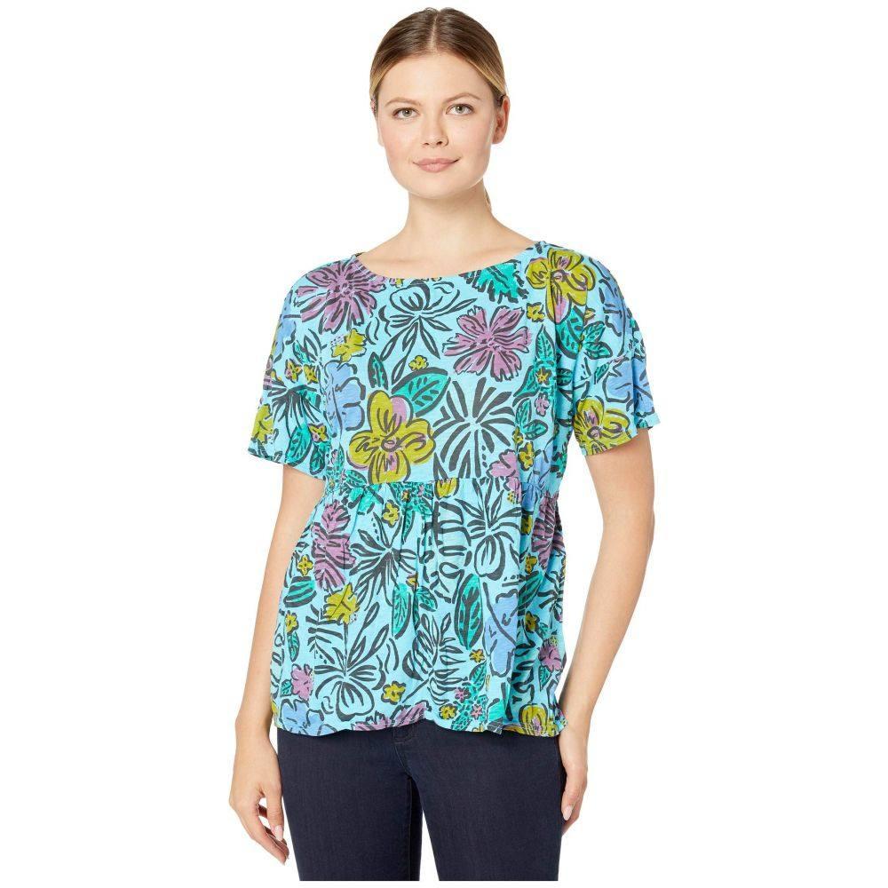 フレッシュプロデュース Fresh Produce レディース Tシャツ トップス【Sketched Flora Fern Tee】Bluefin Turquoise