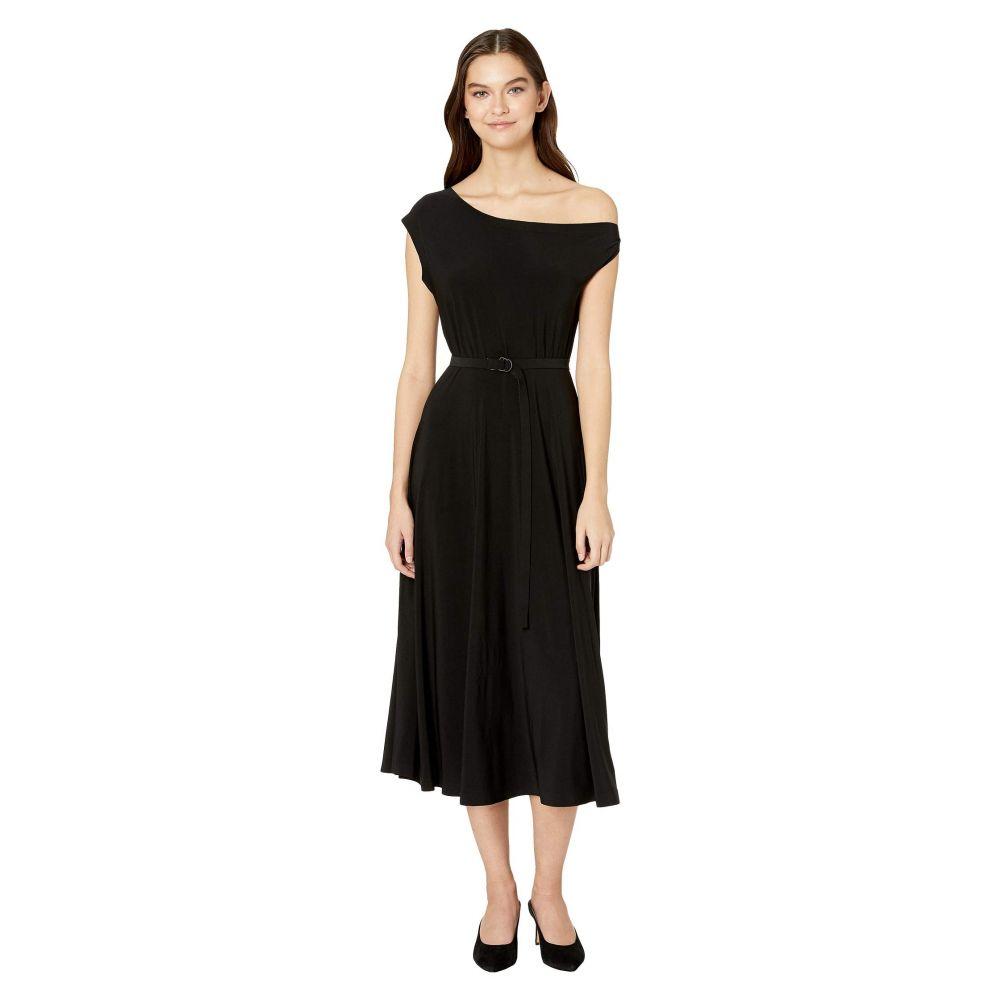 ノーマ カマリ KAMALIKULTURE by Norma Kamali レディース ワンピース ドロップショルダー ワンピース・ドレス【Drop Shoulder Flared Dress to Midcalf】Black
