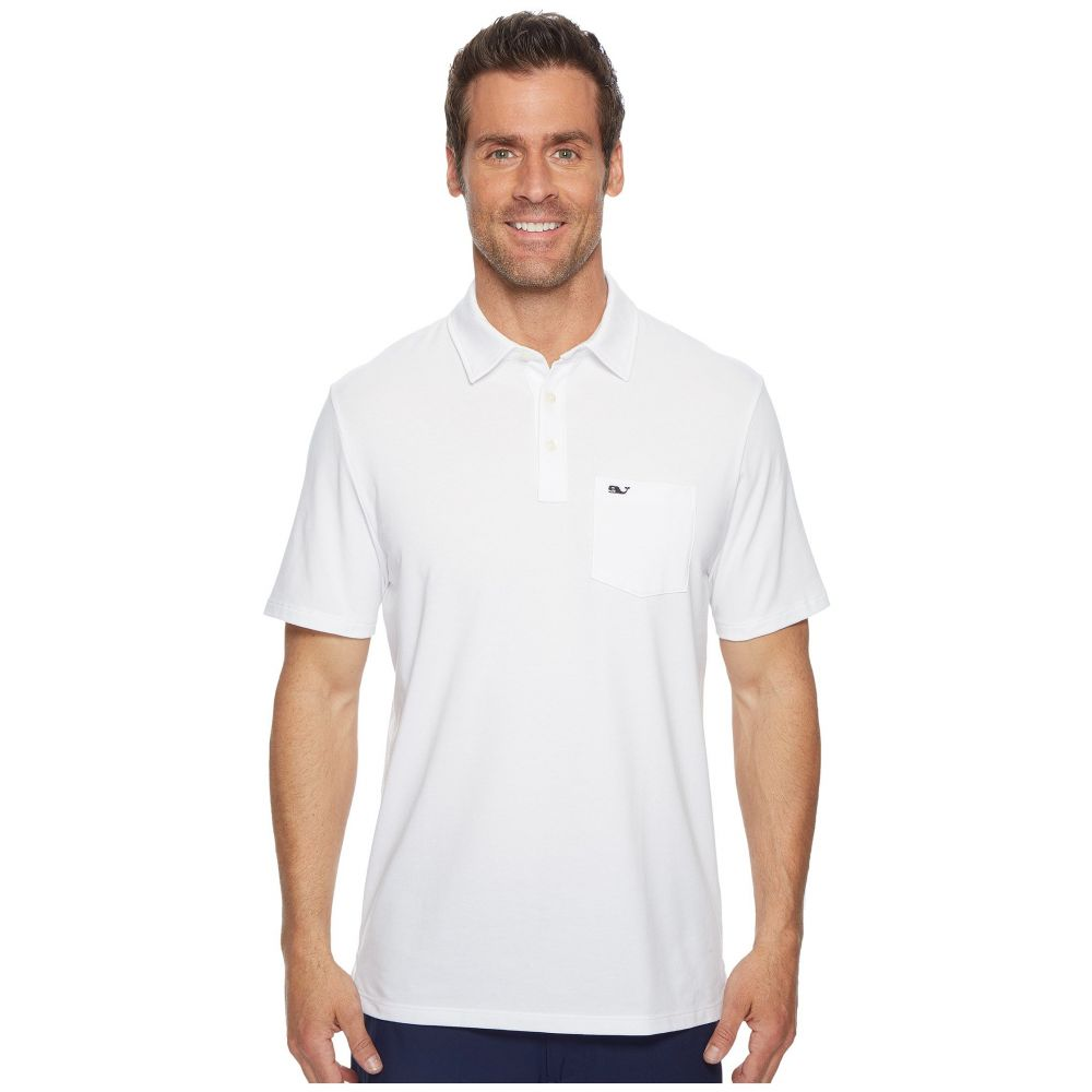 ヴィニヤードヴァインズ Vineyard Vines メンズ ポロシャツ トップス【Solid Edgartown Performance Polo】White Cap