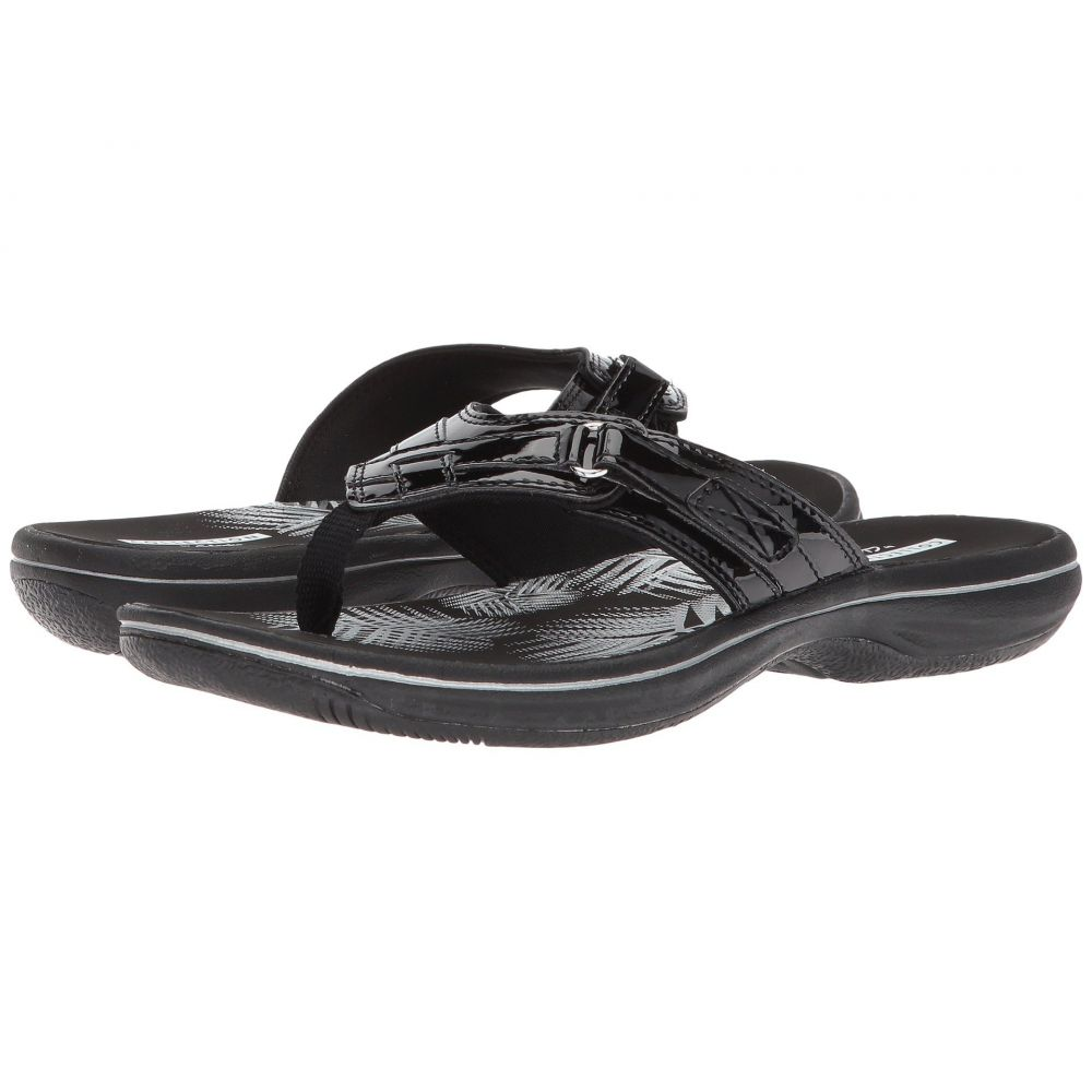 クラークス Clarks レディース ビーチサンダル シューズ・靴【Breeze Sea】Black Synthetic Patent