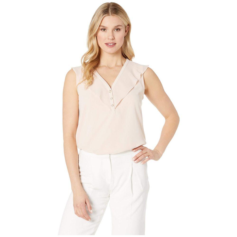 カルバンクライン Calvin Klein レディース ノースリーブ トップス【Sleeveless Top w/ Chiffon & Buttons】Blush