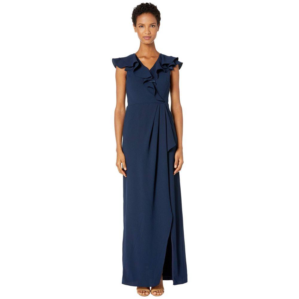 モニーク ルイリエ ML Monique Lhuillier レディース ワンピース ラップドレス ワンピース・ドレス【Crepe Full-Length Ruffled Wrap Dress】Navy