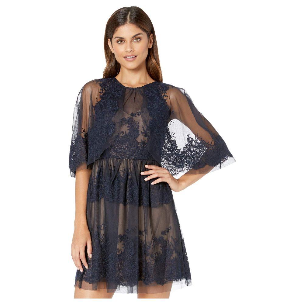 ビーシービージーマックスアズリア BCBGMAXAZRIA レディース ワンピース ワンピース・ドレス【Lace Dress with Overlay Cape Detail】Dark Navy