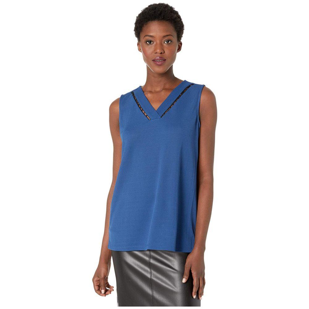 カルバンクライン Calvin Klein レディース ノースリーブ Vネック トップス【Sleeveless V-Neck Top with Bead Detail】Dark Mallard