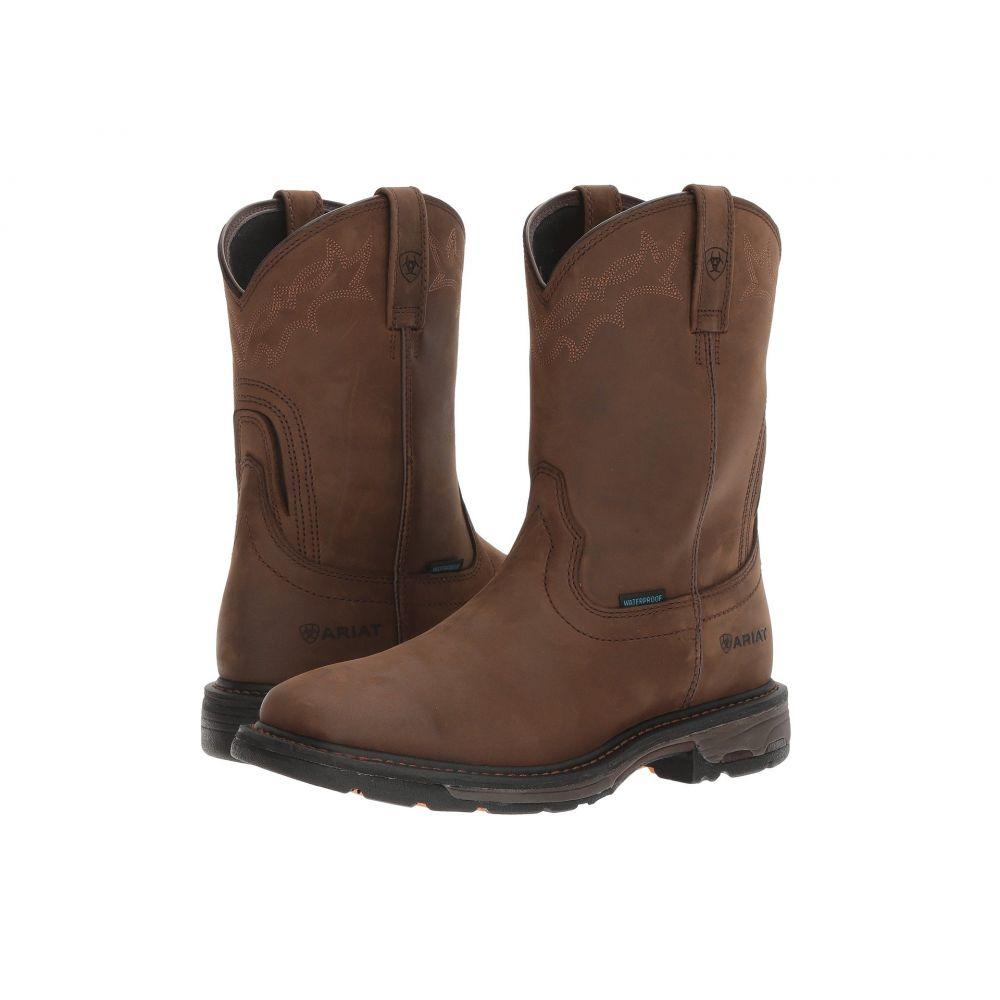 アリアト Ariat メンズ ブーツ ウェリントンブーツ シューズ・靴【Workhog Wellington H2O】Oily Distressed Brown