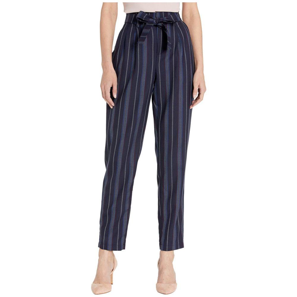 ペンドルトン Pendleton レディース ボトムス・パンツ 【Stripe Belted High-Waisted Pants】Navy Linen Weave Stripe