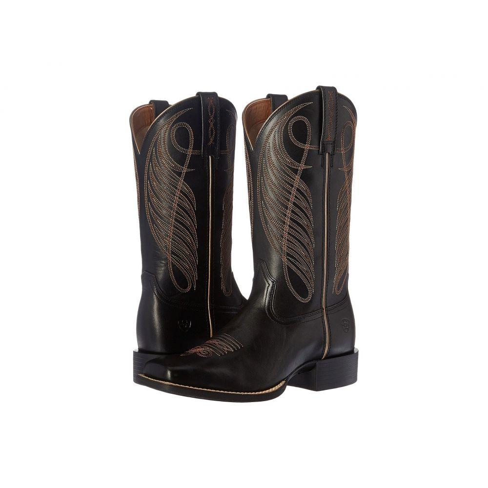 アリアト Ariat レディース ブーツ シューズ・靴【Round Up Wide Square】Limousin Black
