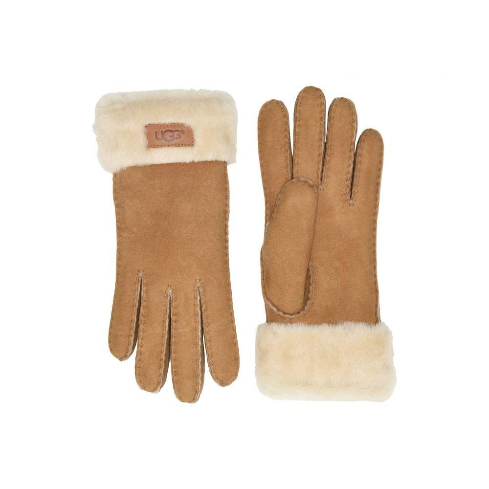 アグ UGG レディース 手袋・グローブ 【Turn Cuff Water Resistant Sheepskin Gloves】Chestnut