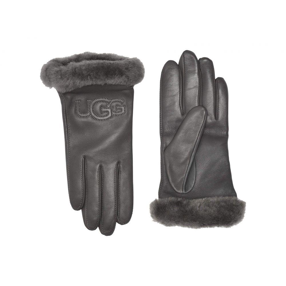 アグ UGG レディース 手袋・グローブ 【Classic Leather Logo Tech Gloves】Charcoal