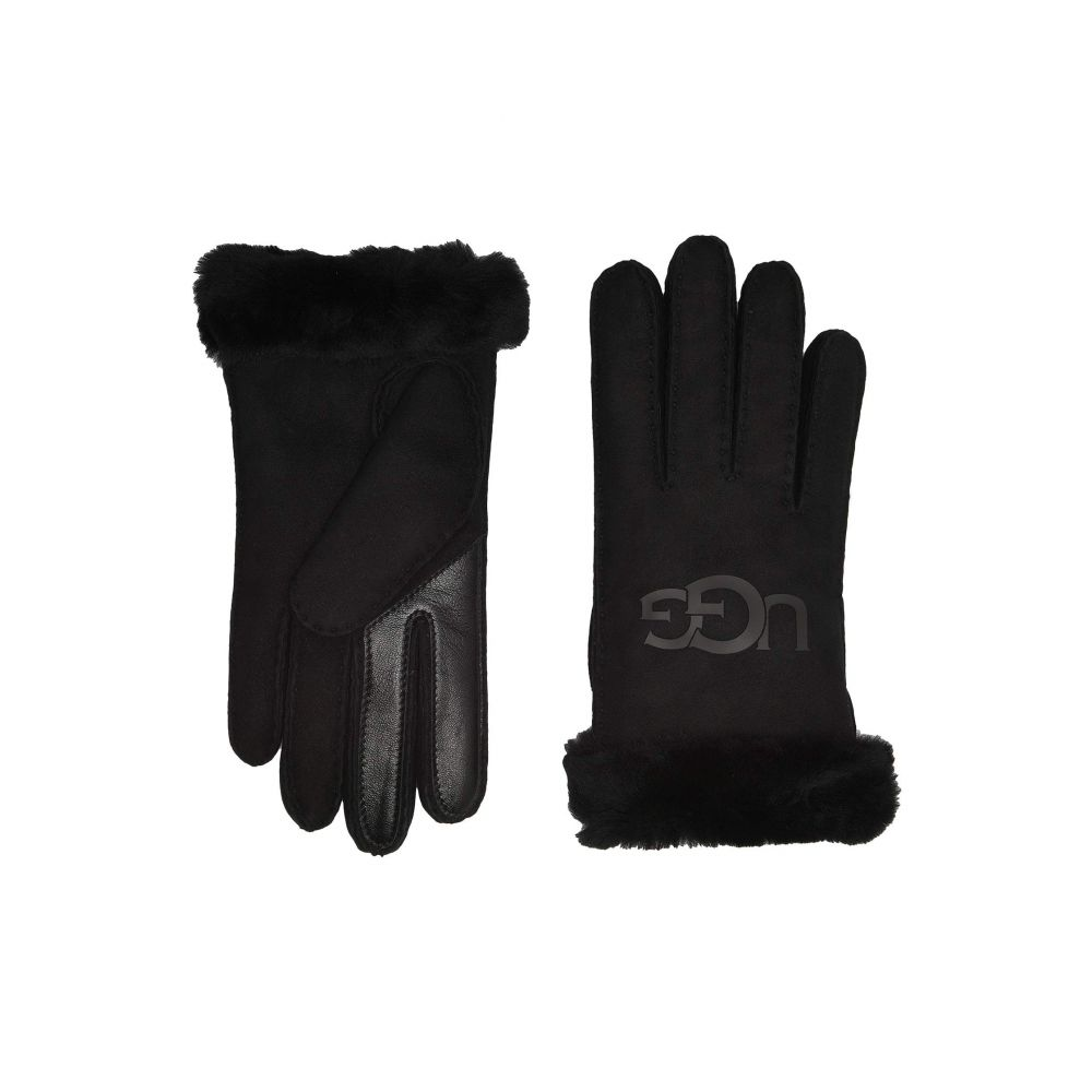 アグ UGG レディース 手袋・グローブ 【Water Resistant Sheepskin Logo Gloves】Black