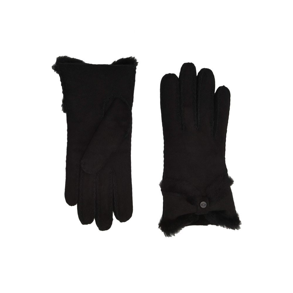 アグ UGG レディース 手袋・グローブ 【Water Resistant Sheepskin Turned Bow Gloves】Black