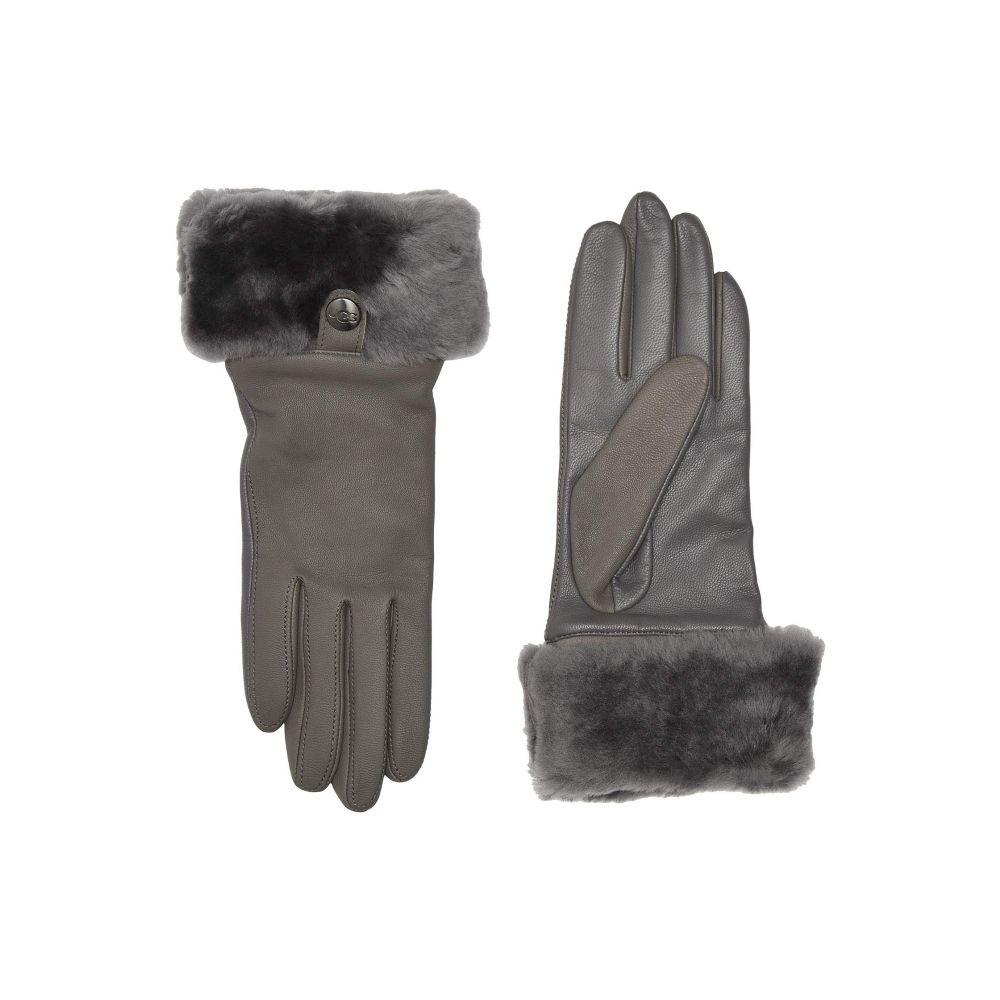 アグ UGG レディース 手袋・グローブ 【Sheepskin Cuff Tech Leather Gloves】Charcoal