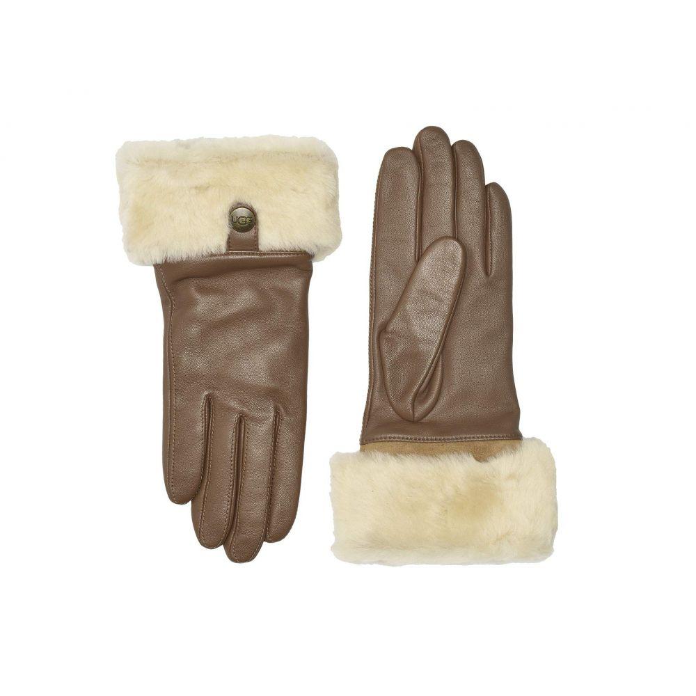 アグ UGG レディース 手袋・グローブ 【Sheepskin Cuff Tech Leather Gloves】Chestnut