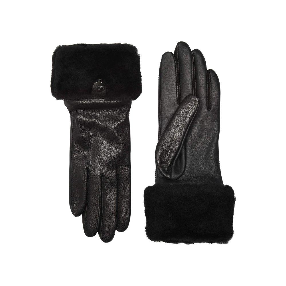 アグ UGG レディース 手袋・グローブ 【Sheepskin Cuff Tech Leather Gloves】Black