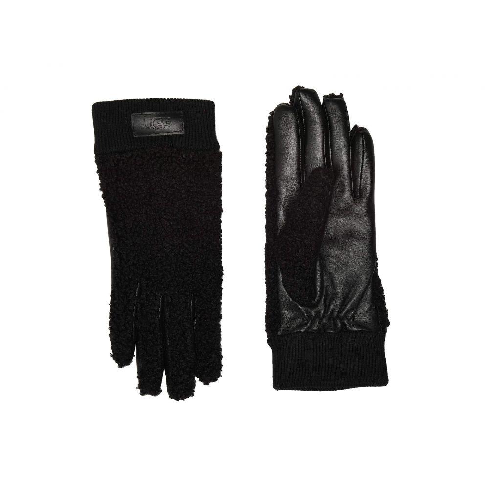 アグ UGG レディース 手袋・グローブ 【Knit Cuff Sherpa Tech Gloves】Black