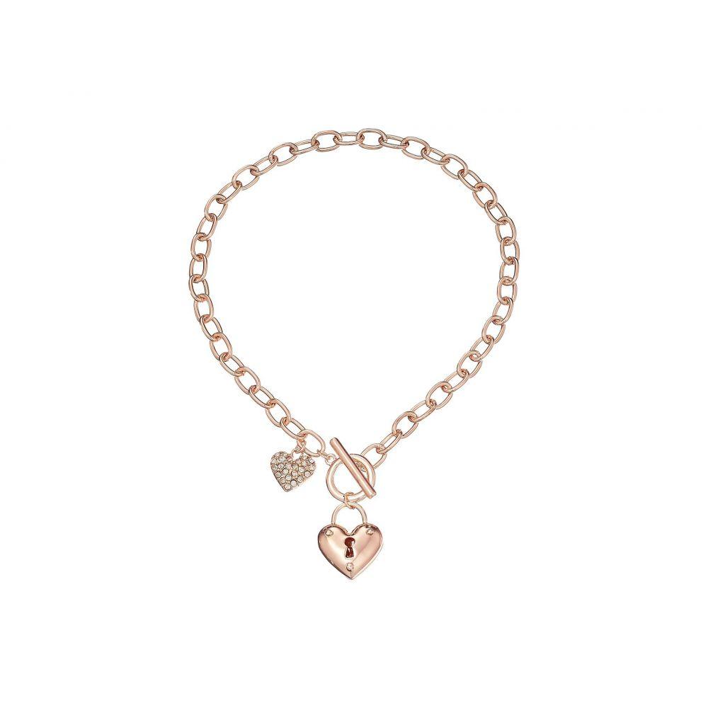 ゲス GUESS レディース ネックレス ハート ジュエリー・アクセサリー【Puffy Heart Toggle Necklace】Rose Gold