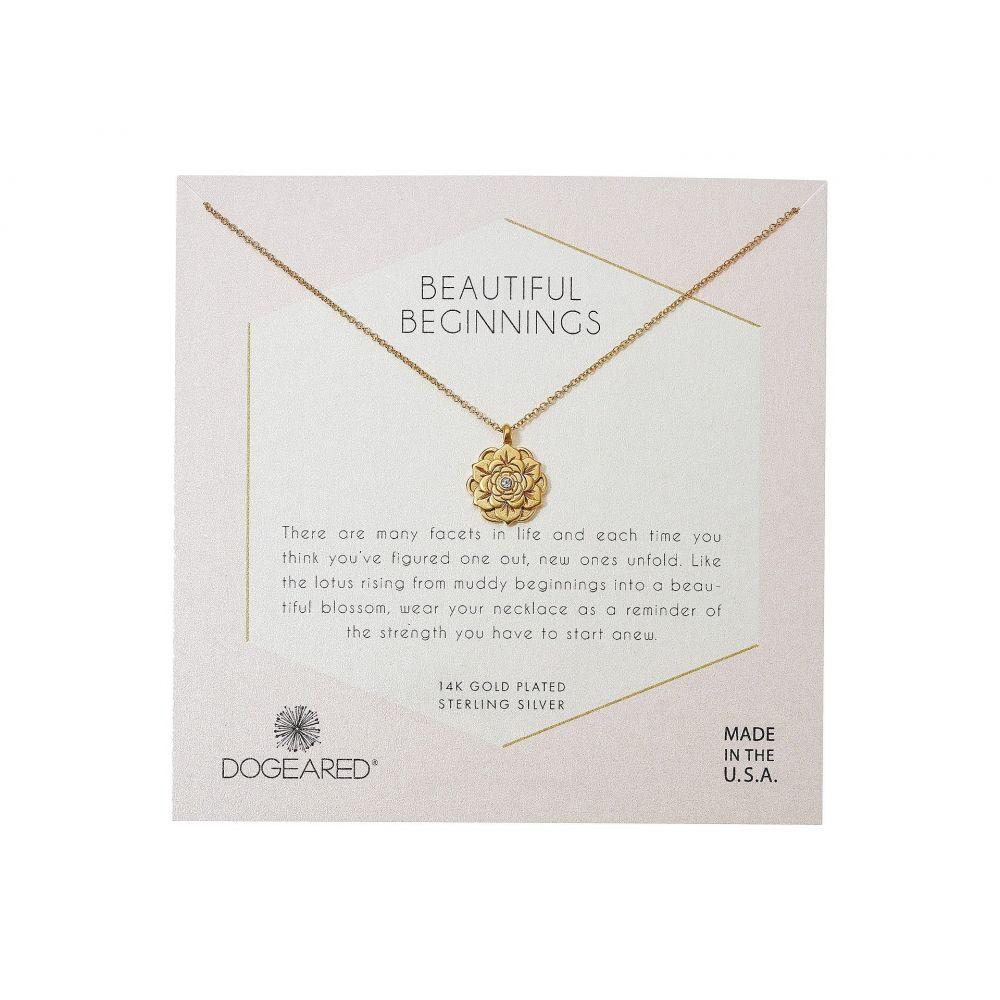ドギャード Dogeared レディース ネックレス チャーム ジュエリー・アクセサリー【Beautiful Beginnings, Detailed Lotus Charm with Crystal Inset Necklace】Gold Dipped