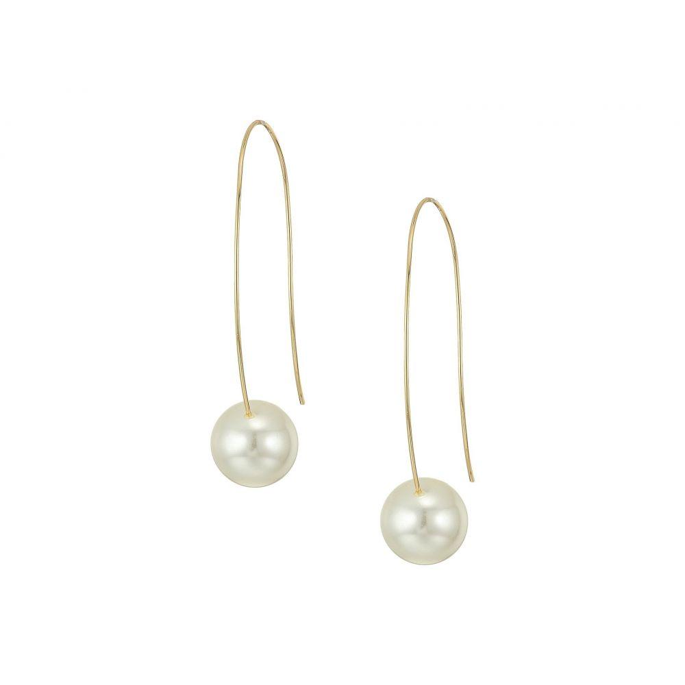 ケネスジェイレーン Kenneth Jay Lane レディース イヤリング・ピアス ジュエリー・アクセサリー【Gold Long Wire with White Pearl Bottom Drop Wire Ear Earrings】Gold/White Pearl