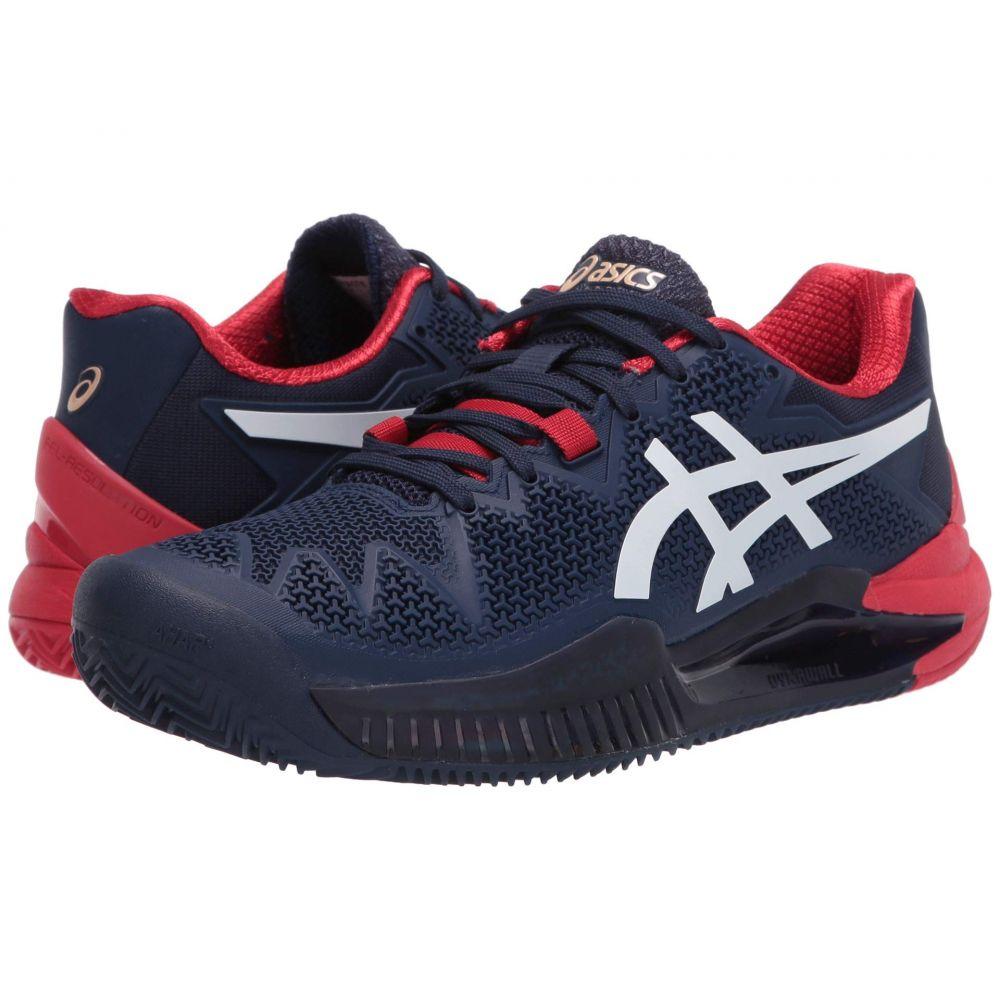 アシックス メンズ テニス シューズ・靴 Peacoat/White 【サイズ交換無料】 アシックス ASICS メンズ テニス シューズ・靴【Gel-Resolution 8 Clay】Peacoat/White