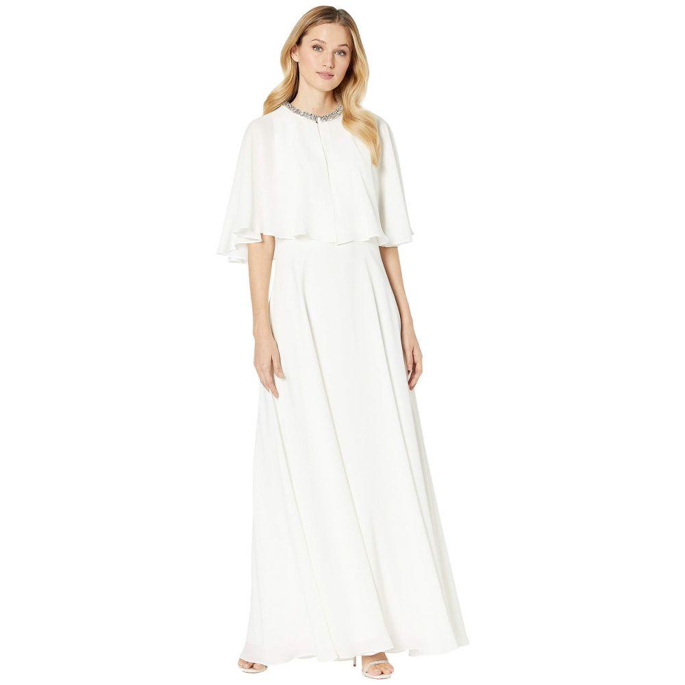 カルバンクライン Calvin Klein レディース パーティードレス ワンピース・ドレス【Popover Cape Gown w/ Embellished Neck】Cream