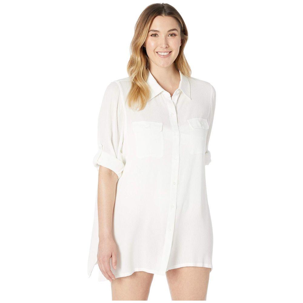 ラルフ ローレン LAUREN Ralph Lauren レディース ビーチウェア 大きいサイズ トップス 水着・ビーチウェア【Plus Size Crinkle Rayon Cover-Up Camp Shirt】White