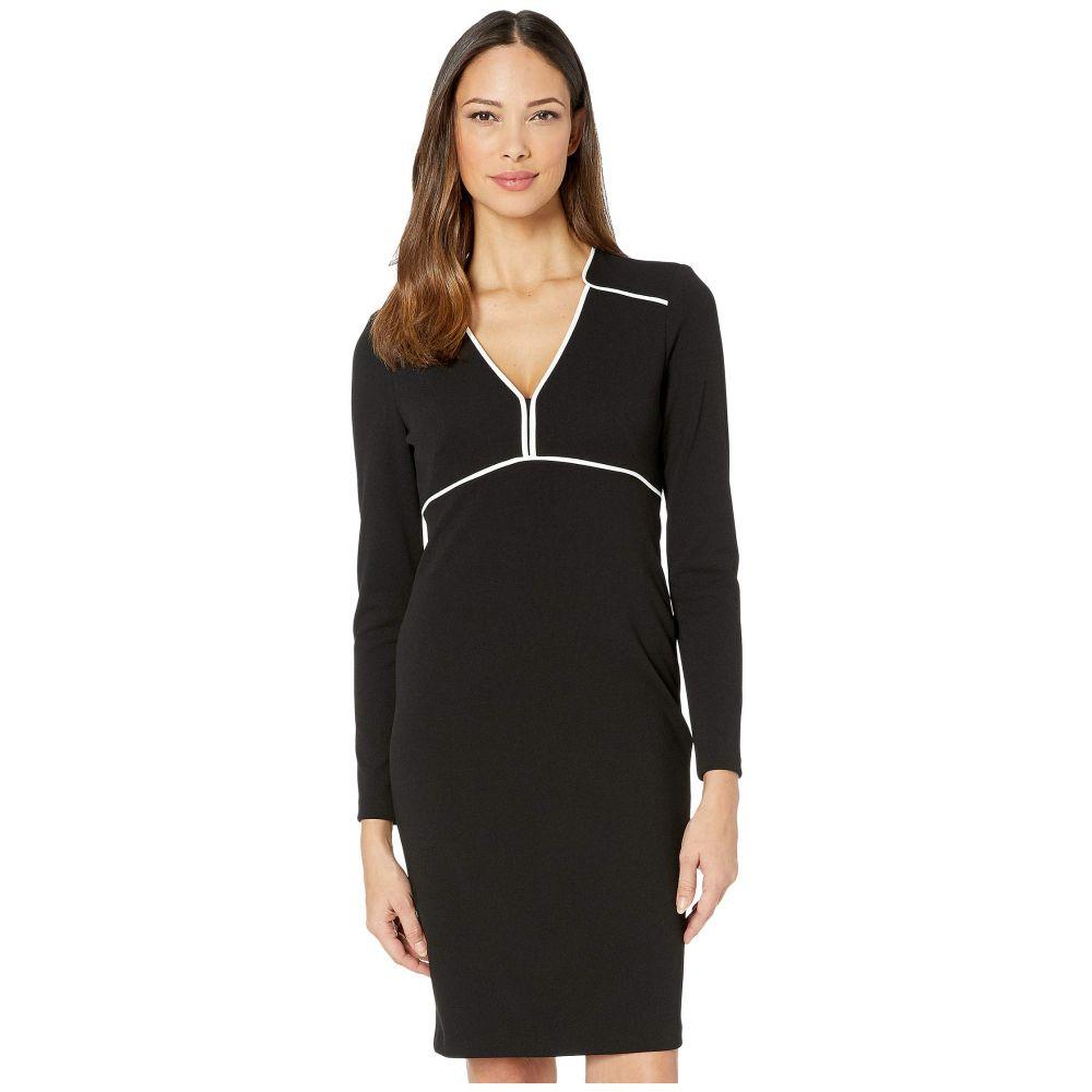 カルバンクライン Calvin Klein レディース ワンピース ワンピース・ドレス【Long Sleeve Sheath Dress w/ Piping Detail】Black/Cream