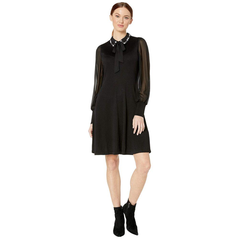 シーシー CeCe レディース ワンピース ワンピース・ドレス【Long Sleeve Mix Media Sweater Dress with Embroidered Collar】Rich Black