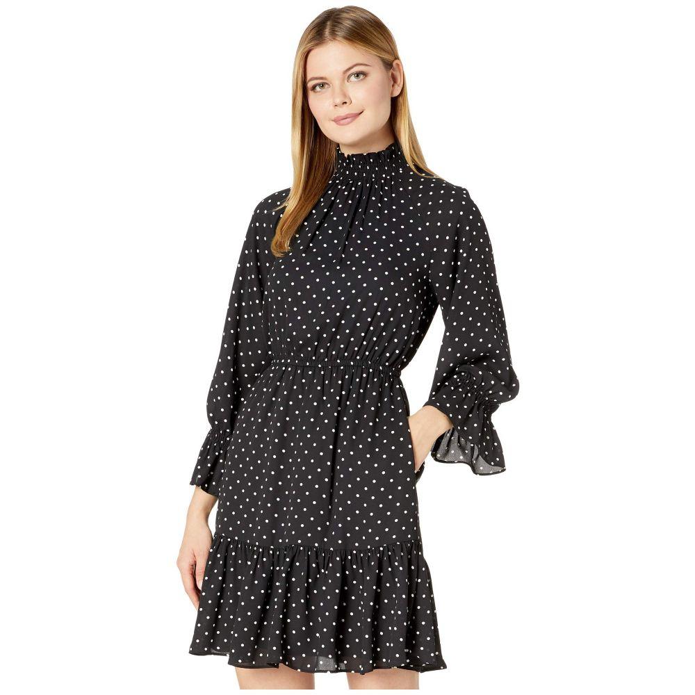 ドナ モルガン Donna Morgan レディース ワンピース ワンピース・ドレス【Long Smocked Sleeve Georgette Fit-and-Flare High Neck Dress】Black/White