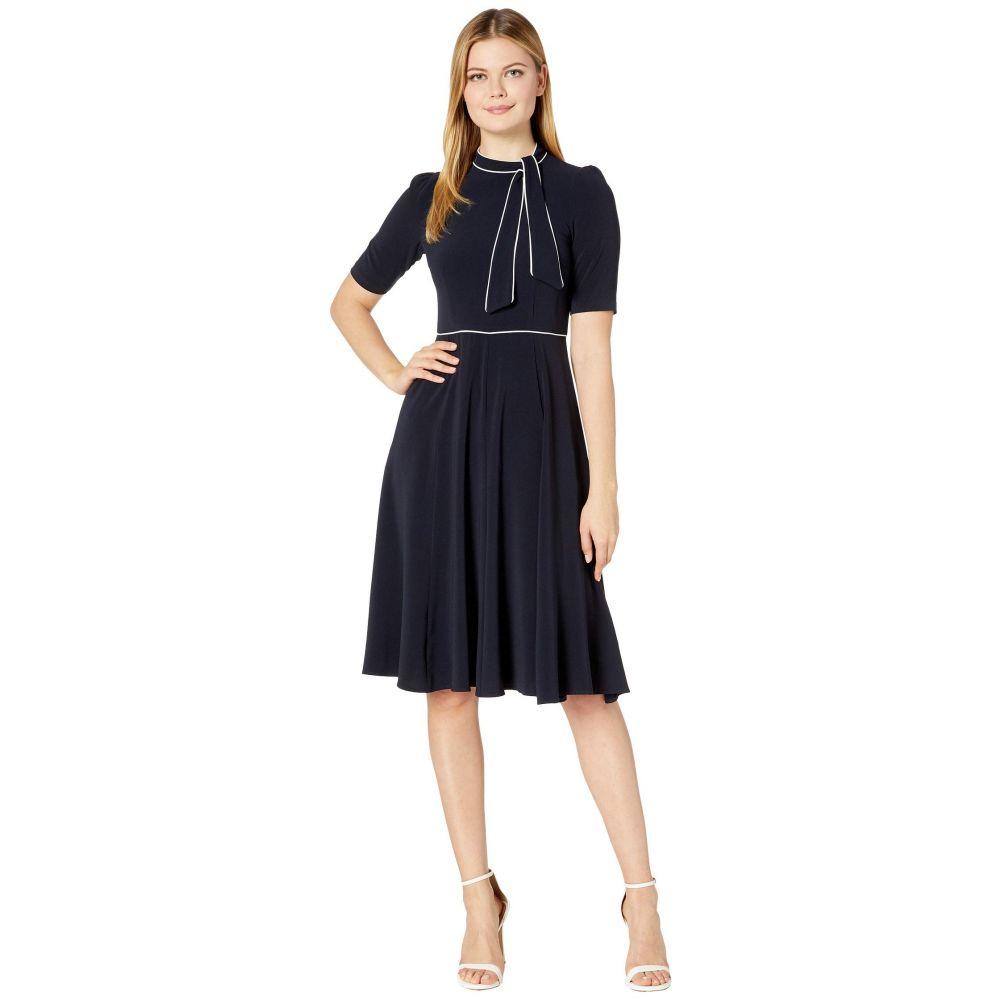 ドナ モルガン Donna Morgan レディース ワンピース ワンピース・ドレス【Short Sleeve Lightweight Fit-and-Flare Contrast Tie Neck Dress】Marine Navy/Ivory