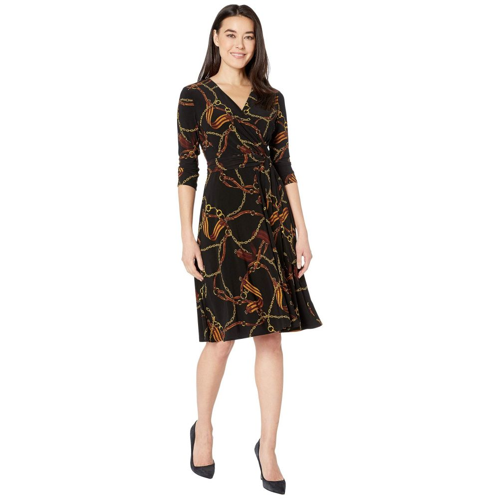 ラルフ ローレン LAUREN Ralph Lauren レディース ワンピース ワンピース・ドレス【Petite Equestrian-Print Jersey Dress】Black/Gold/Multi