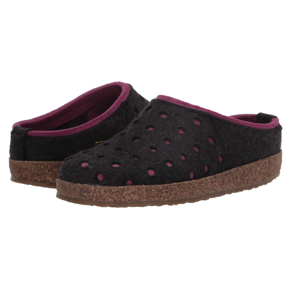 ハフリンガー Haflinger レディース スリッパ シューズ・靴【Holly】Charcoal/Pink