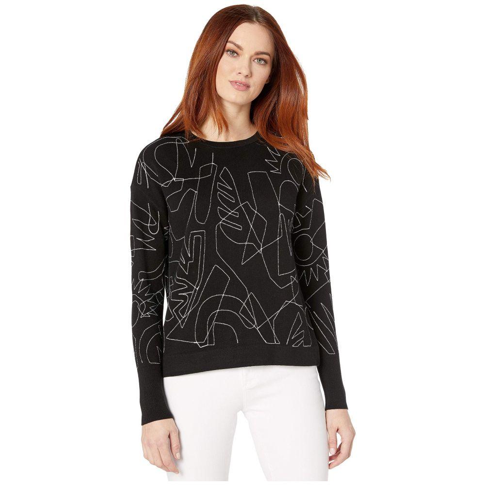 ニックゾー NIC+ZOE レディース ニット・セーター トップス【Embroidered Sweater】Black Onyx