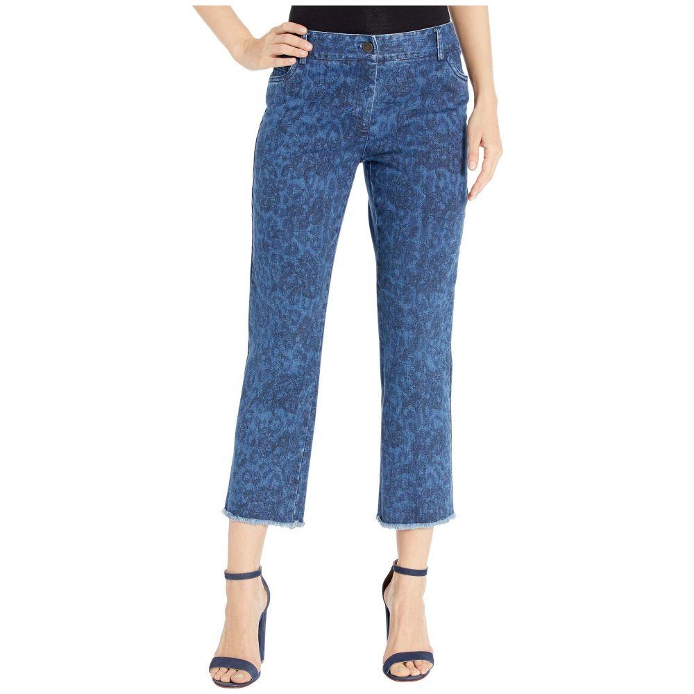 エリオットローレン Elliott Lauren レディース ジーンズ・デニム ボトムス・パンツ【Printed Denim Five-Pocket Jeans with Frayed Hem in Blue】Blue