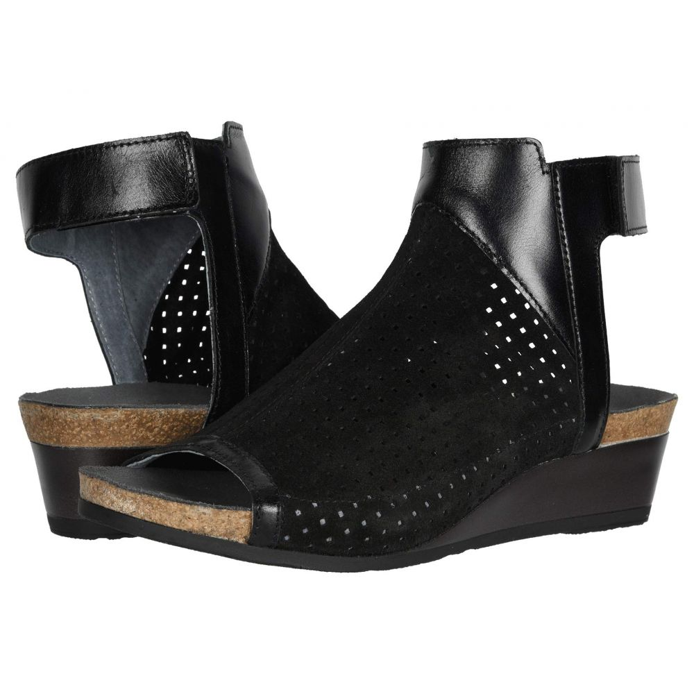 ナオト Naot レディース サンダル・ミュール シューズ・靴【Oz】Black Suede Perforated/Black Madras Leather