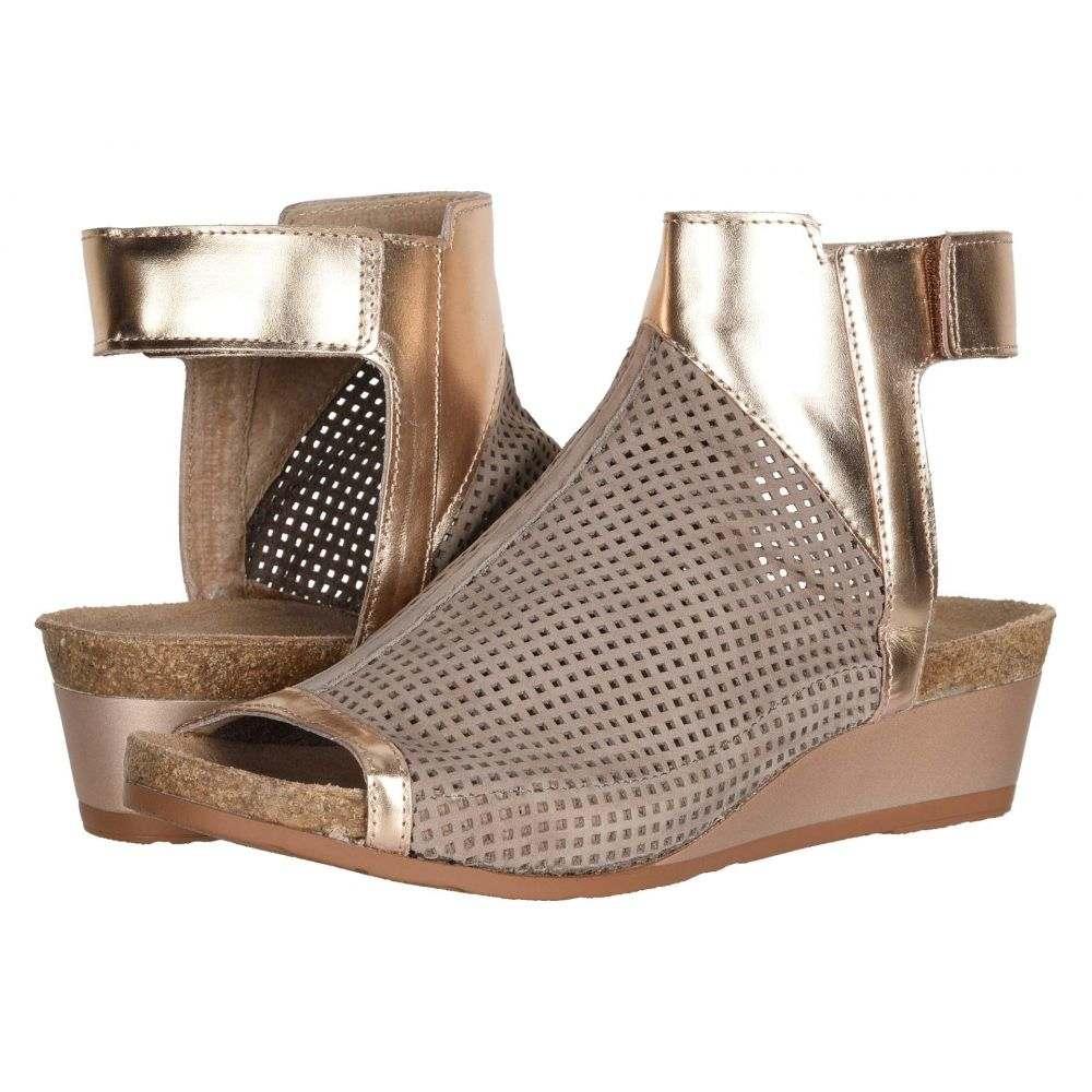 ナオト Naot レディース サンダル・ミュール シューズ・靴【Oz】Stone Nubuck Perforated/Rose Gold Leather