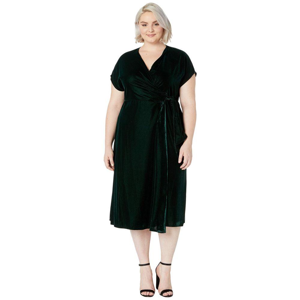 ラルフ ローレン LAUREN Ralph Lauren レディース ワンピース 大きいサイズ ラップドレス ワンピース・ドレス【Plus Size Velvet Wrap Dress】Deep Pine