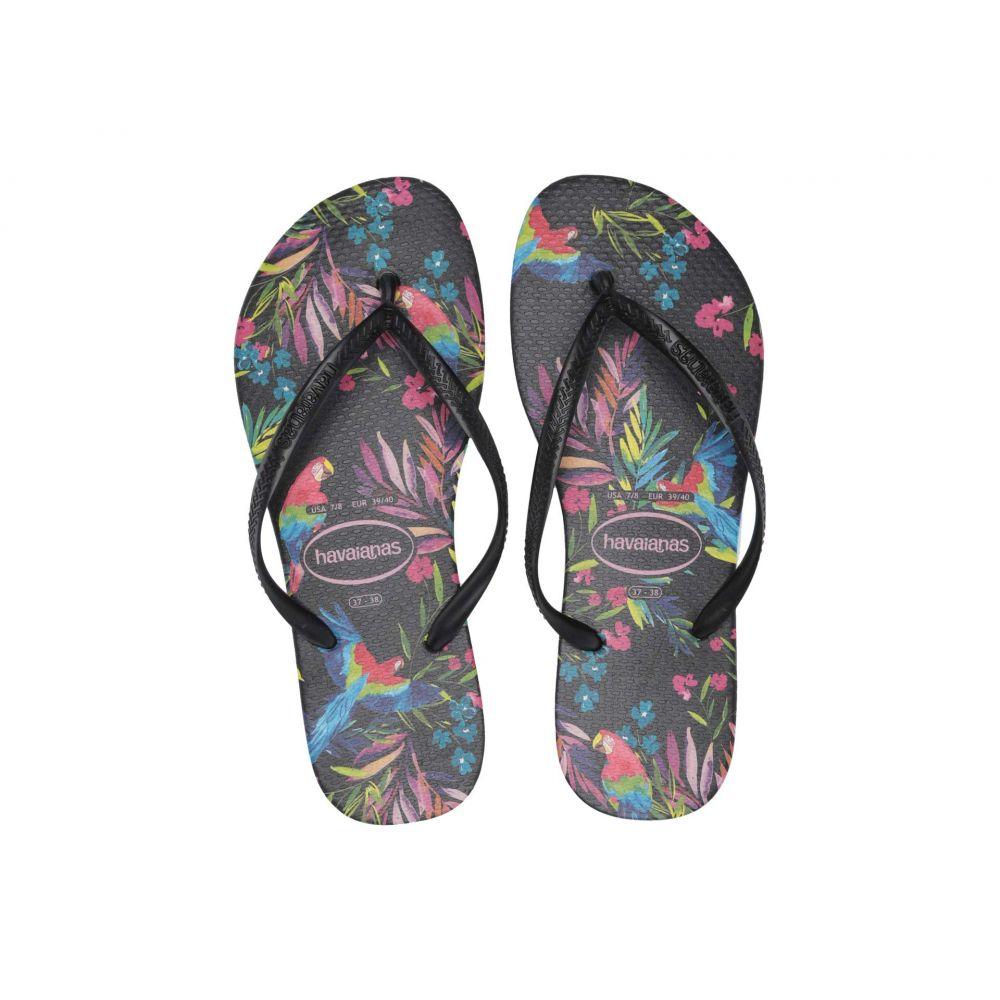 ハワイアナス Havaianas レディース ビーチサンダル シューズ・靴【Slim Tropical Floral Sandal】Black/Black