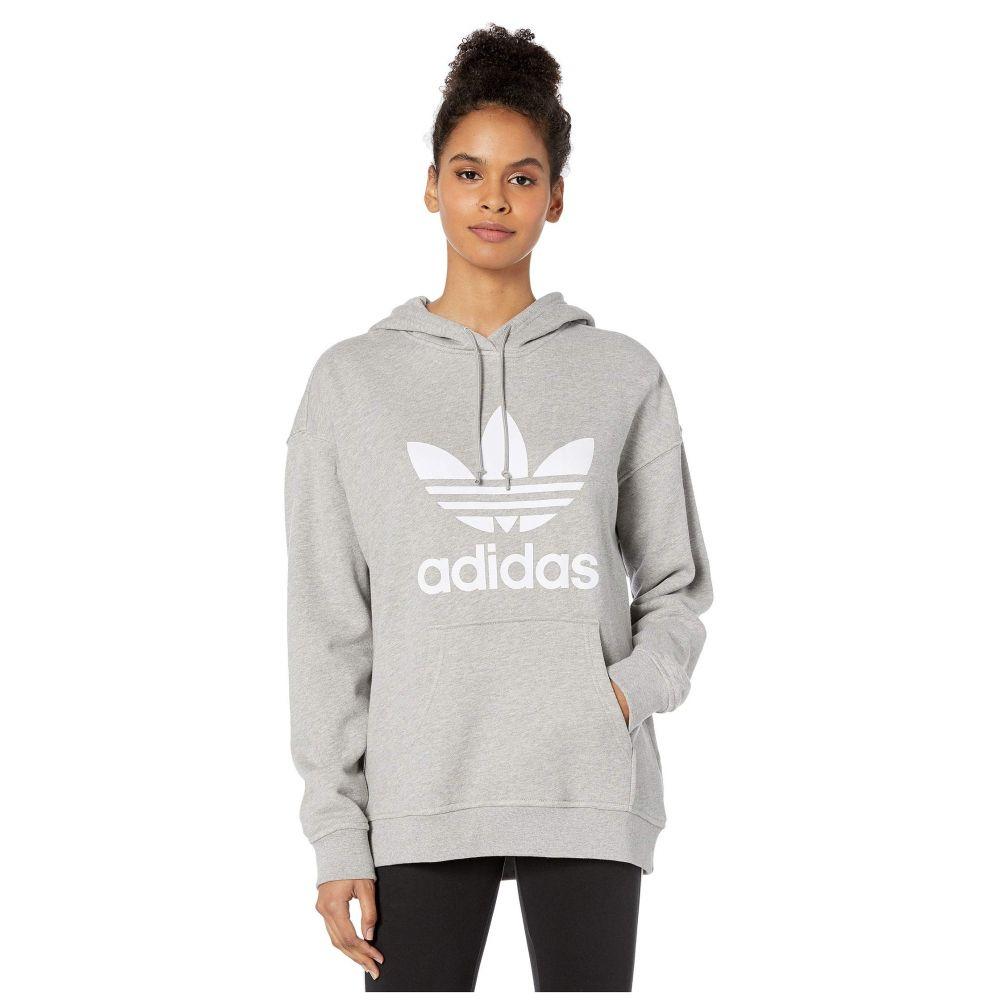 アディダス adidas Originals レディース パーカー トップス【Trefoil Hoodie】Medium Grey Heather/White