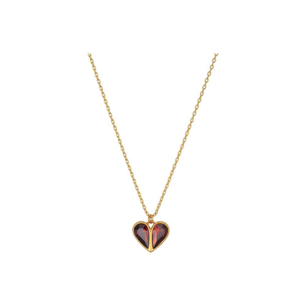 ケイト スペード Kate Spade New York レディース ネックレス ハート ジュエリー・アクセサリー【Rock Solid Stone Heart Mini Pendant Necklace】Ruby/Gold