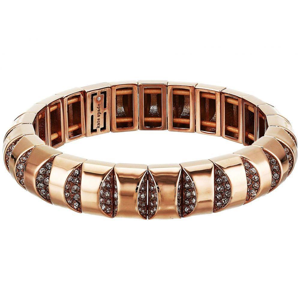 ケイト スペード Kate Spade New York レディース ブレスレット ジュエリー・アクセサリー【Sliced Scallops Pave Stretch Bracelet】Clear/Rose Gold
