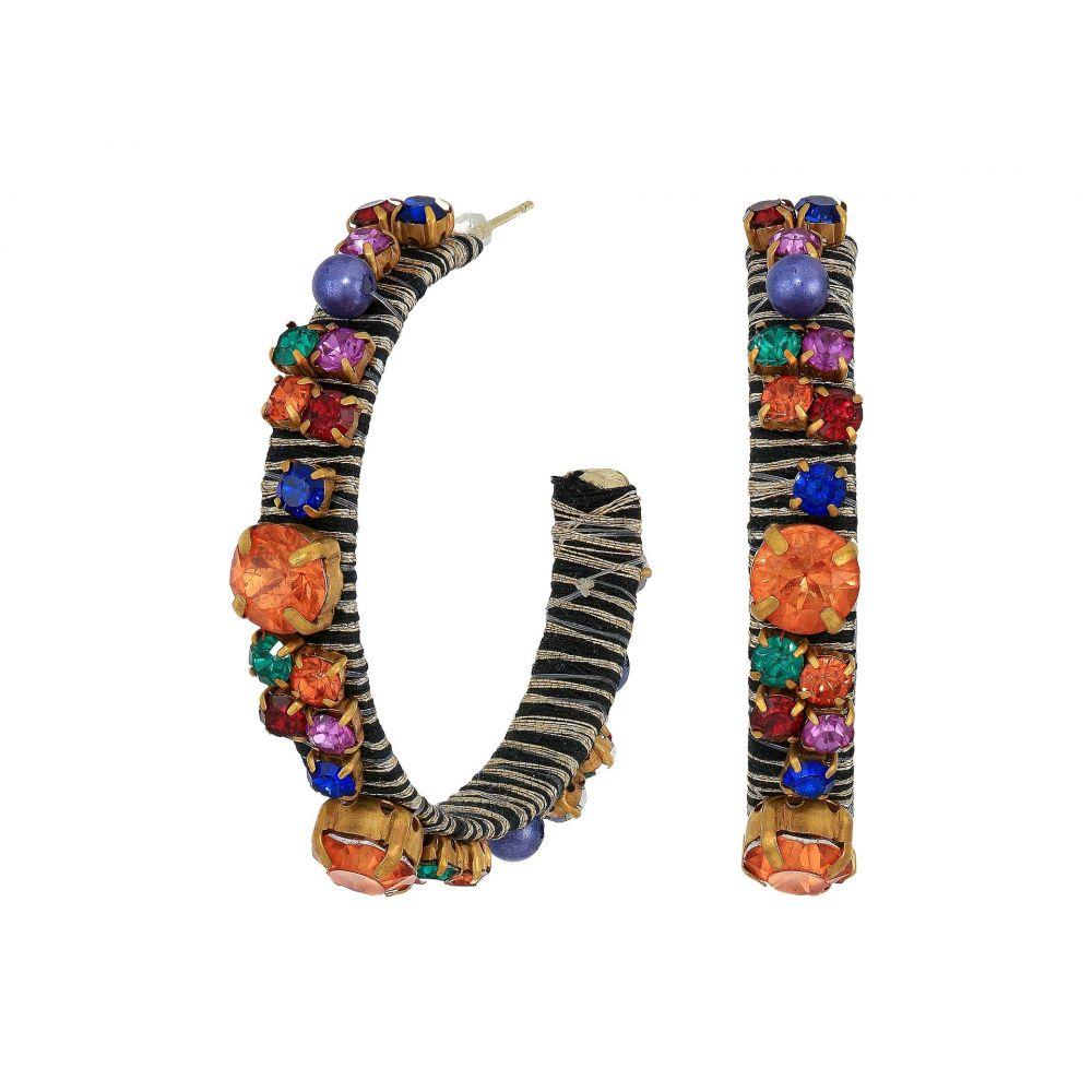 ケネスジェイレーン Kenneth Jay Lane レディース イヤリング・ピアス ジュエリー・アクセサリー【Gold Threaded Pierced Hoop Earrings with Multicolor Gemstones】Gold/Multi