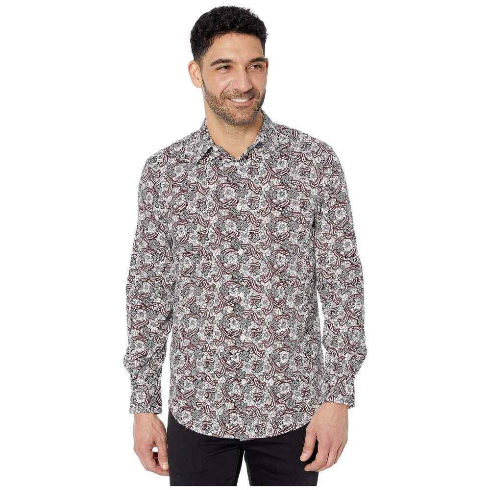 ペリー エリス Perry Ellis メンズ シャツ トップス【Floral Paisley Print Stretch Long Sleeve Button-Down Shirt】Bright White