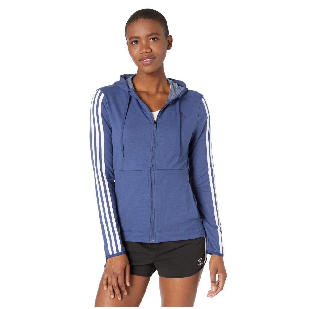 アディダス adidas レディース パーカー トップス【3 Stripe Training Full Zip Hoodie Sweatshirt】Tech Indigo