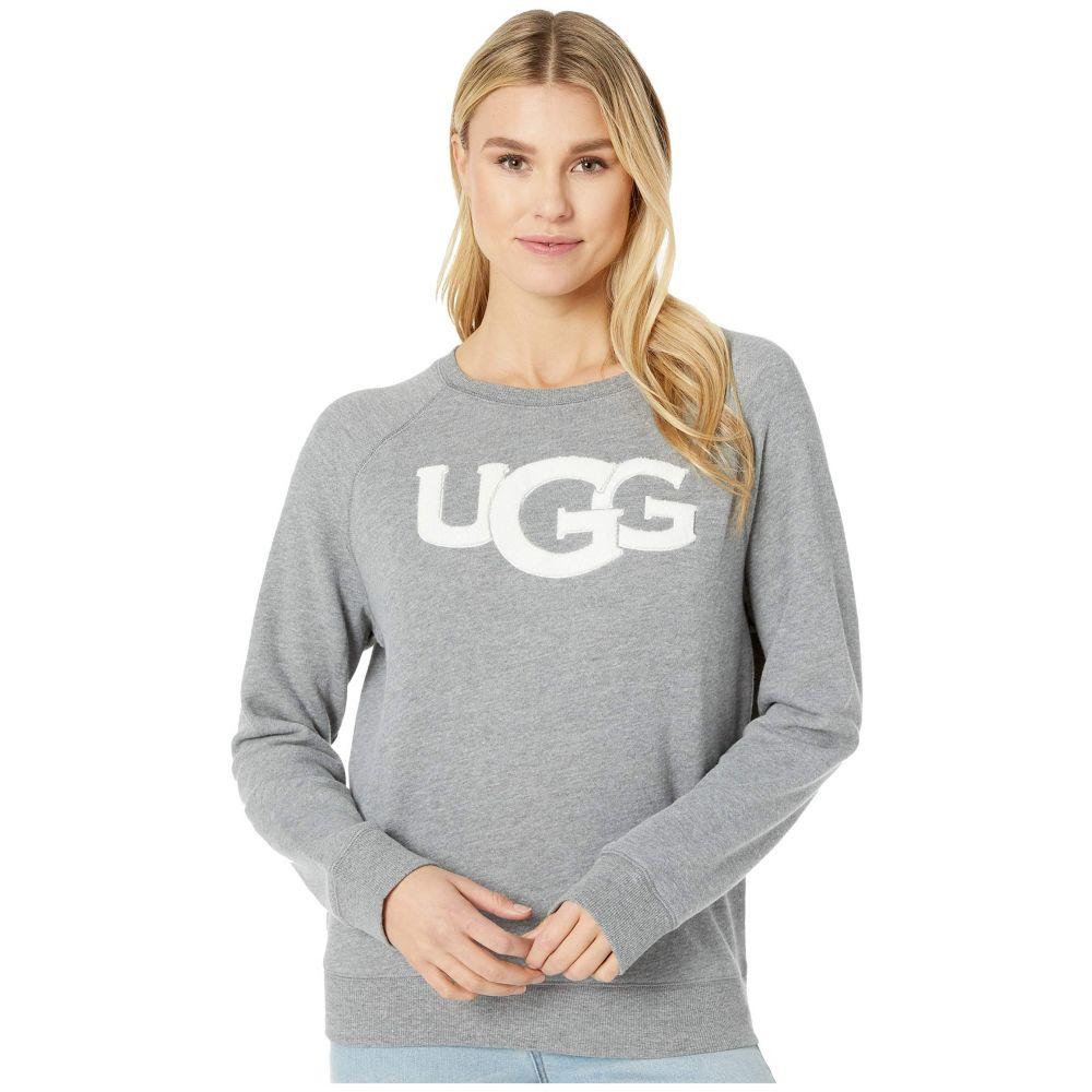 アグ UGG レディース スウェット・トレーナー トップス【Fuzzy Logo Crew Neck Sweatshirt】Grey Heather
