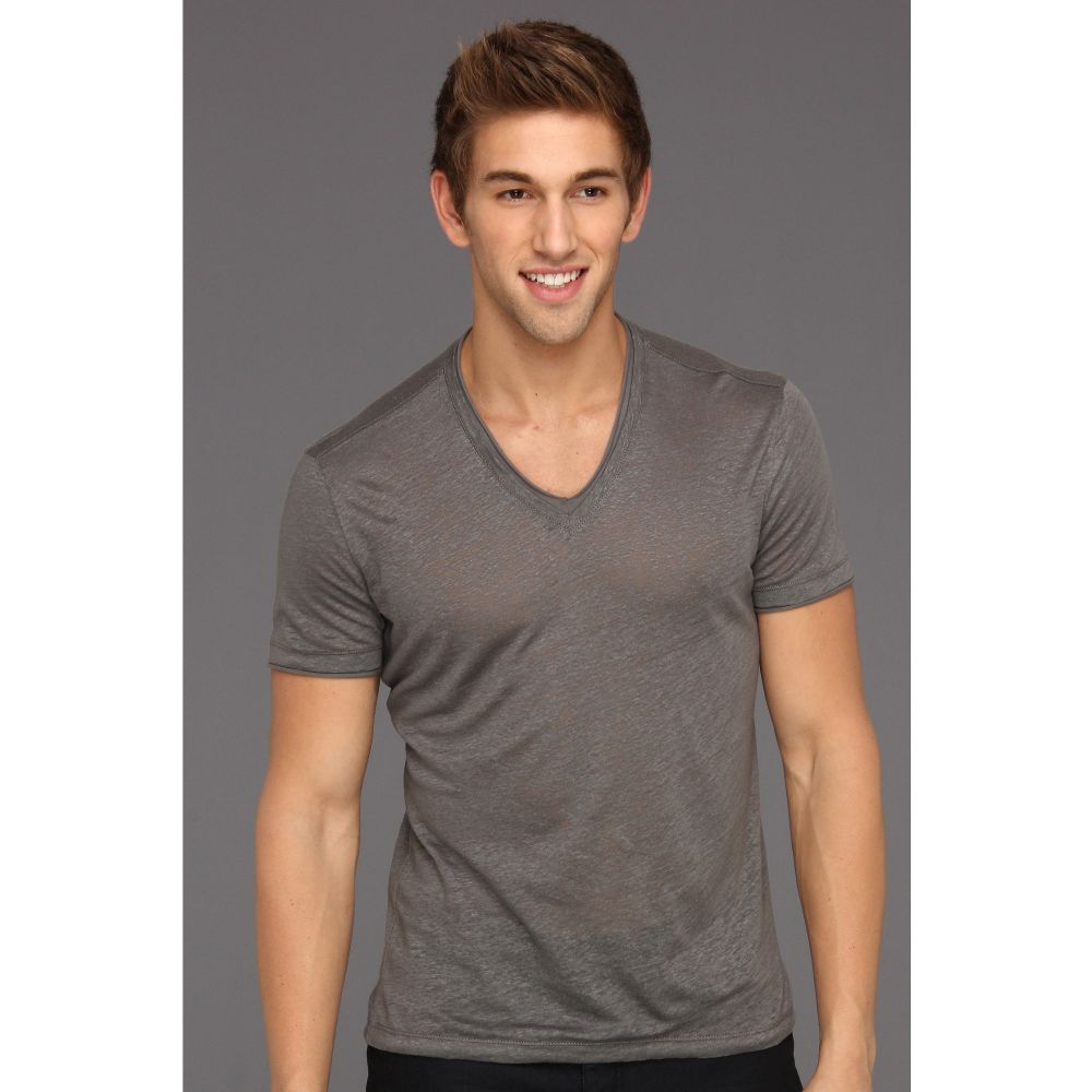 ジョン バルベイトス John Varvatos Collection メンズ Tシャツ Vネック トップス【Linen S/S V-Neck With Cotton Trim】Pewter