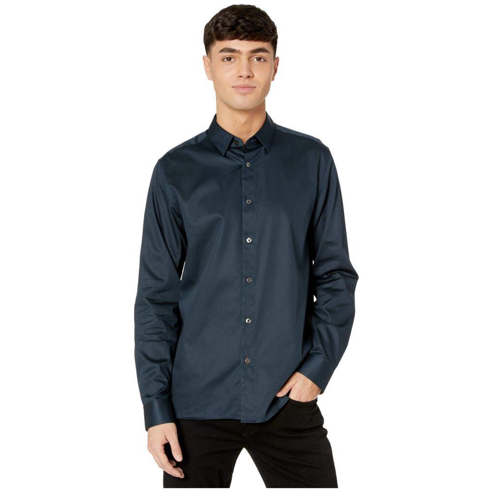 テッドベーカー Ted Baker メンズ シャツ トップス【Bobcut Long Sleeve Satin Stretch Shirt】Navy