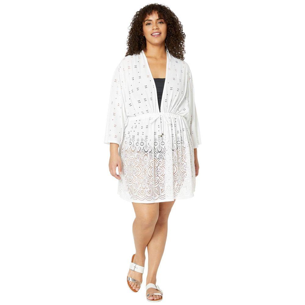 ドッティ DOTTI レディース ビーチウェア 大きいサイズ チュニック 水着・ビーチウェア【Plus Size Gypsy Gem Drawcord Waist Tunic Cover-Up】White